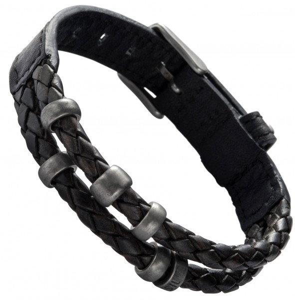 fossil herren armband jf85460 stahl leder schwarz ebay. Black Bedroom Furniture Sets. Home Design Ideas