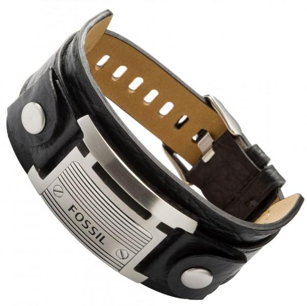 fossil schmuck herren armband jf84816 edelstahl leder schwarz ebay. Black Bedroom Furniture Sets. Home Design Ideas