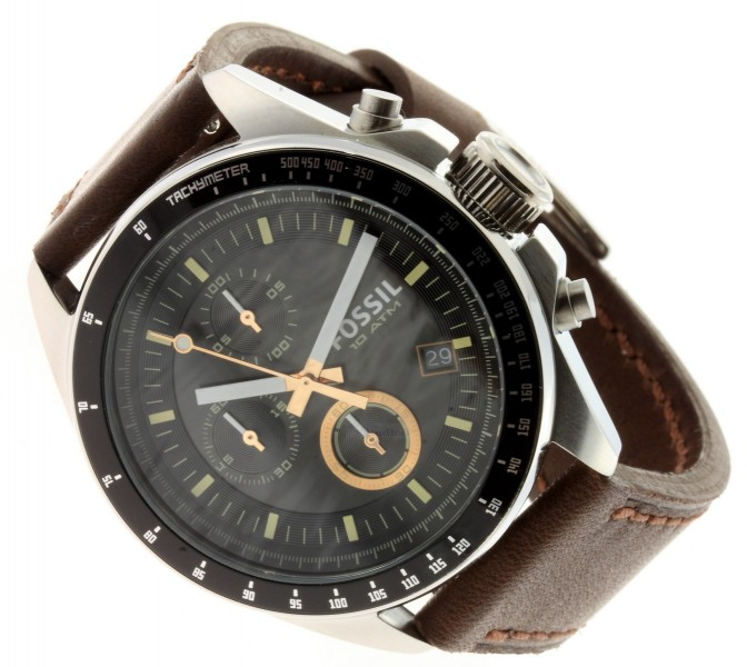 fossil uhr decker herren chronograph leder braun ch2885 gents watch ebay. Black Bedroom Furniture Sets. Home Design Ideas
