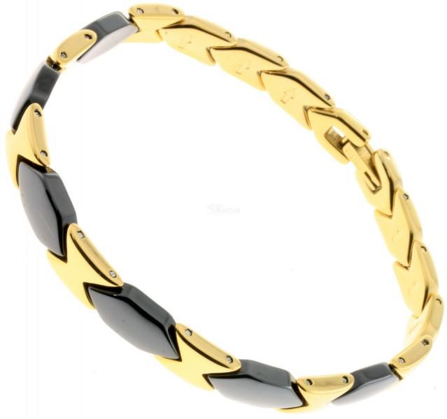 elegantes damen keramik stahl armband gold schwarz ceramic ebay. Black Bedroom Furniture Sets. Home Design Ideas