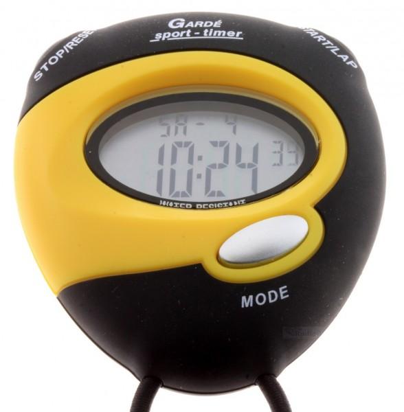 lcd stoppuhr sport uhr digital ruhla timer uhrzeit 8 lap alarm trageband gelb ebay. Black Bedroom Furniture Sets. Home Design Ideas