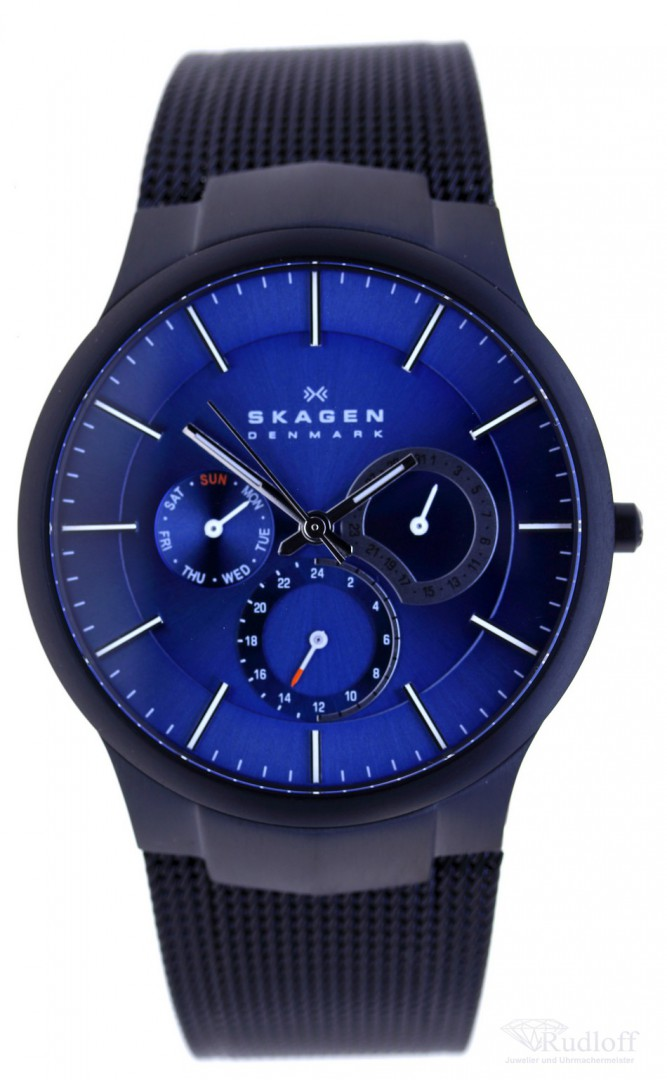 skagen uhr flache herren titan uhr 809xltbn day date schwarzes milanaiseband ebay. Black Bedroom Furniture Sets. Home Design Ideas